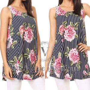 Striped floral Tunic top